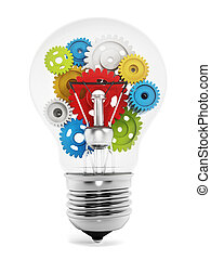 Colorful gears inside the light bulb isolated on white...
