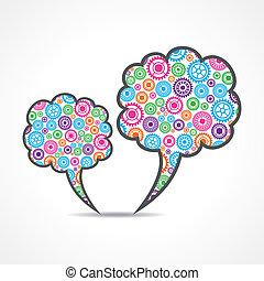 Colorful gears make message bubbles