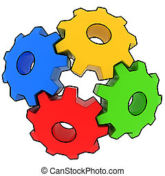 colorful gears on white background