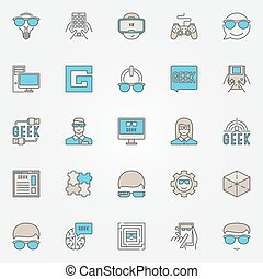 Colorful geek icons set