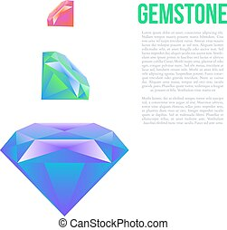 Colorful gem isolated on white background Vector