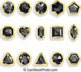 Colorful gems - black. Set realistic gemstones