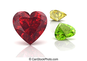 colorful gems isolate on white background