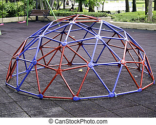 Colorful geodesic dome in schoolyard/playground