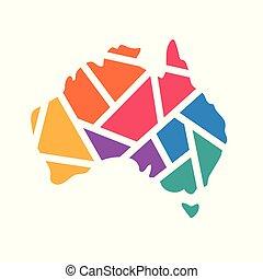 colorful geometric Australia map- vector illustration