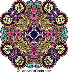 Colorful geometric designs on white background