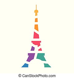 colorful geometric Eiffel tower Paris icon- vector illustration