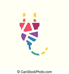 colorful geometric electric plug icon- vector illustration