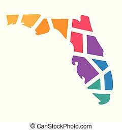 colorful geometric Florida map- vector illustration