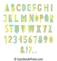 Colorful geometric font.