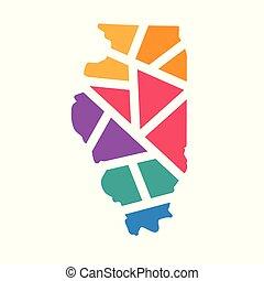 colorful geometric Illinois map- vector illustration