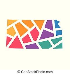 colorful geometric Kansas map- vector illustration