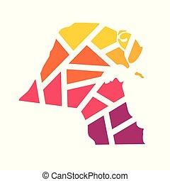 colorful geometric Kuwait map vector illustration