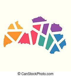 colorful geometric Latvia map- vector illustration