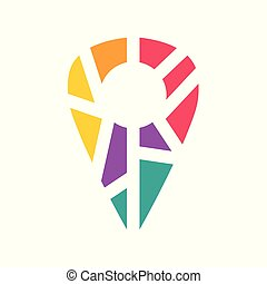 colorful geometric location pin icon- vector illustration