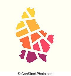 colorful geometric Luxembourg map- vector illustration