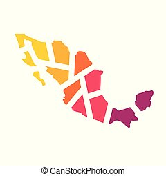 colorful geometric Mexico map- vector illustration