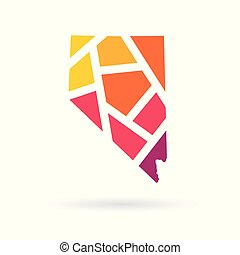 colorful geometric Nevada map- vector illustration