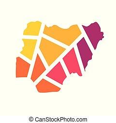 colorful geometric Nigeria map- vector illustration