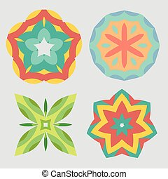 Colorful geometric ornament pattern set