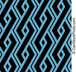 Colorful geometric overlay seamless pattern, symmetric endless vector background with intertwine blue lines. Abstract vertical concept splicing covering.