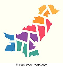 colorful geometric Pakistan map- vector illustration