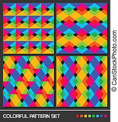 Colorful geometric pattern set. Vector.