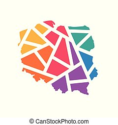 colorful geometric Poland map- vector illustration