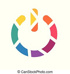 colorful geometric power button icon- vector illustration