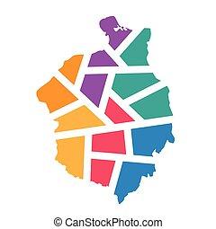 colorful geometric Romania map- vector illustration