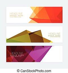 colorful geometric set of three headers
