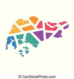 colorful geometric Singapore map- vector illustration