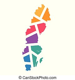 colorful geometric Sweden map- vector illustration