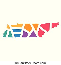 colorful geometric Tennessee map- vector illustration