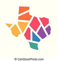 colorful geometric Texas map- vector illustration