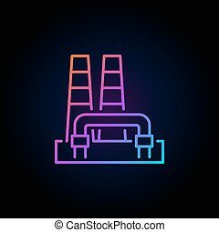 Colorful geothermal power plant icon - vector renewable...
