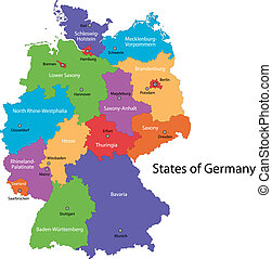 Germany map - Colorful Germany map with regions and main...