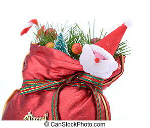Colorful gift bag with ribbon and bow.