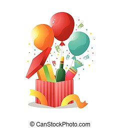Colorful gift box with champagne bottle, candy and balloon
