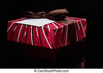 Colorful gift box with label