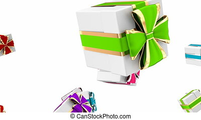 Colorful gift boxes 3D looping animation
