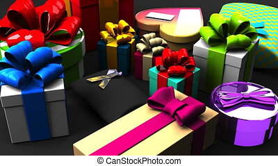 Colorful Gift Boxes. 3DCG render animation.