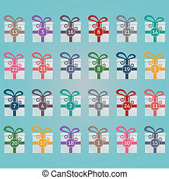colorful gift boxes advent calendar blue background
