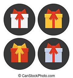 Colorful Gift Boxes Icons Set. Vector