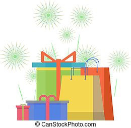 Colorful gift boxes on background with fireworks