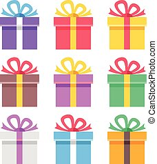 Colorful gift boxes set. Flat icons