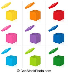 Colorful Gift Boxes Set With Extra Open Lids To Put On