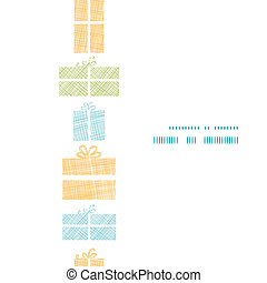 Colorful gift boxes textile texture vertical frame seamless pattern background