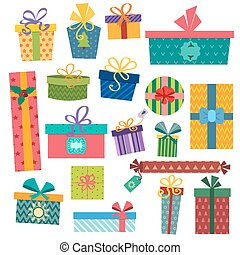 Colorful gift boxes with bows and ribbons vector set