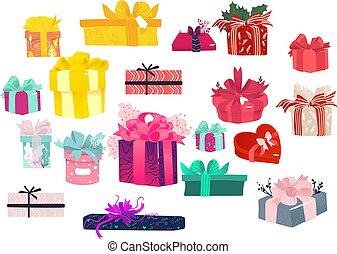 Colorful gift packages set - lots of present boxes wrapped with decorative paper and ribbons.